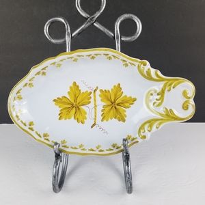 Hand Painted Oval Plate Dish Italy Italian Pottery